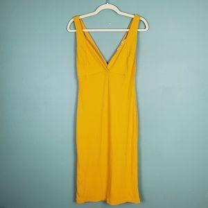 All In Favor Ribbed Bodycon Golden Dress Medium